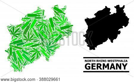 Drugs Mosaic And Solid Map Of North Rhine-westphalia State. Vector Map Of North Rhine-westphalia Sta