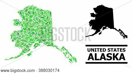 Drugs Mosaic And Solid Map Of Alaska State. Vector Map Of Alaska State Is Designed Of Scattered Vacc
