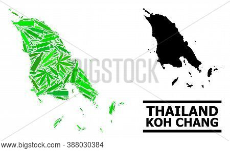 Drugs Mosaic And Usual Map Of Koh Chang. Vector Map Of Koh Chang Is Created From Randomized Syringes