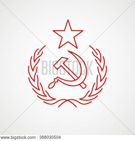 Linear Icon Of Communism. Hammer, Sickle And Wreath With A Star. Red Soviet Emblem. Minimalist Coat