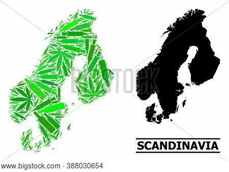 Addiction Mosaic And Usual Map Of Scandinavia. Vector Map Of Scandinavia Is Constructed With Random