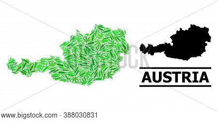 Drugs Mosaic And Usual Map Of Austria. Vector Map Of Austria Is Formed Of Random Vaccine Doses, Ganj