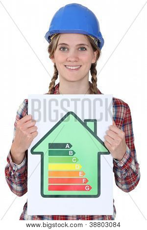 Woman with energy efficiency chart poster