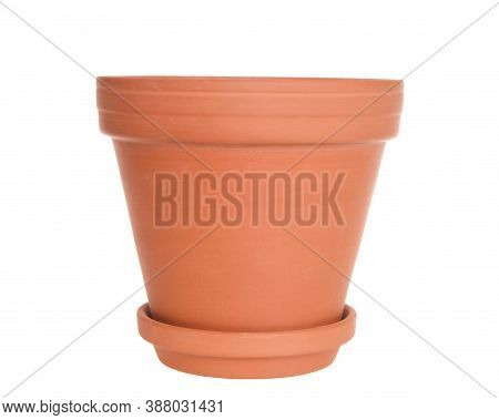 Close Up Of One Empty Terra Cotta Pot, Isolated On White.
