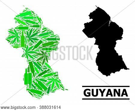 Drugs Mosaic And Solid Map Of Guyana. Vector Map Of Guyana Is Shaped With Scattered Vaccine Symbols,