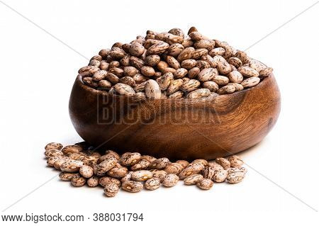 Pinto  Beans In Wooden Bowl Isolated On White