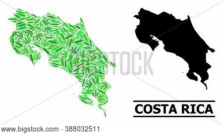 Drugs Mosaic And Usual Map Of Costa Rica. Vector Map Of Costa Rica Is Organized From Scattered Syrin