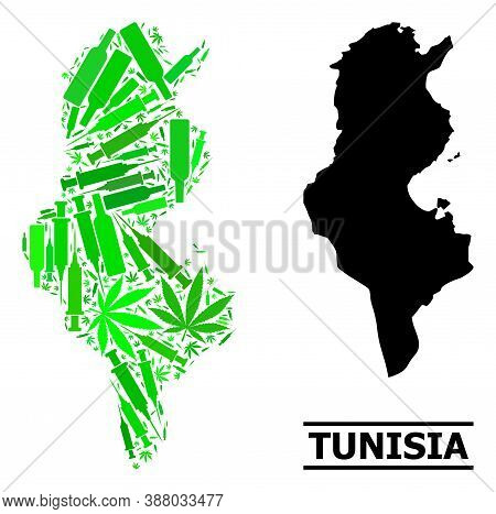 Addiction Mosaic And Solid Map Of Tunisia. Vector Map Of Tunisia Is Done From Random Injection Needl