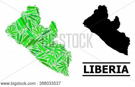 Addiction Mosaic And Usual Map Of Liberia. Vector Map Of Liberia Is Designed From Randomized Inocula
