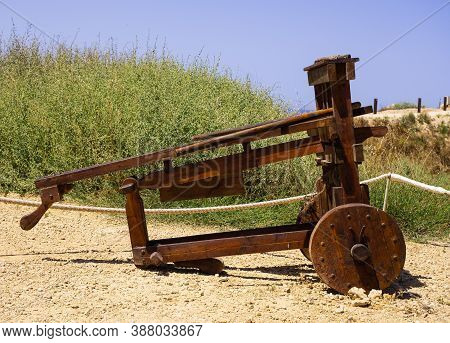 Ancient Siege Weapons In Apollonia National Park, Israel