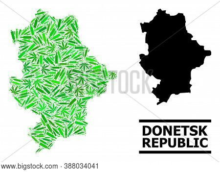 Addiction Mosaic And Solid Map Of Donetsk Republic. Vector Map Of Donetsk Republic Is Organized With