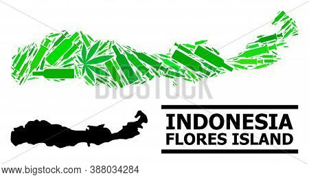 Drugs Mosaic And Usual Map Of Indonesia - Flores Island. Vector Map Of Indonesia - Flores Island Is