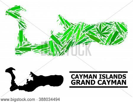 Addiction Mosaic And Usual Map Of Grand Cayman Island. Vector Map Of Grand Cayman Island Is Construc