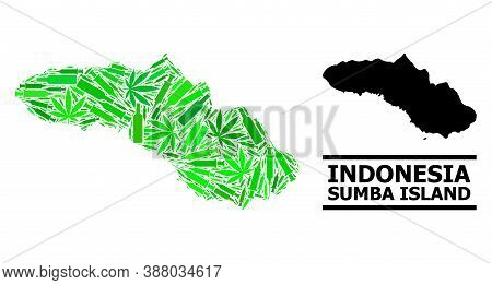 Addiction Mosaic And Usual Map Of Sumba Island. Vector Map Of Sumba Island Is Composed From Randomiz