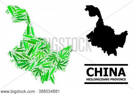 Drugs Mosaic And Solid Map Of Heilongjiang Province. Vector Map Of Heilongjiang Province Is Designed