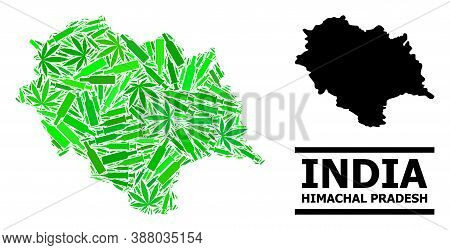 Drugs Mosaic And Solid Map Of Himachal Pradesh State. Vector Map Of Himachal Pradesh State Is Made O