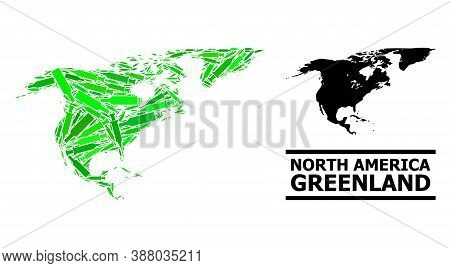 Drugs Mosaic And Usual Map Of North America And Greenland. Vector Map Of North America And Greenland