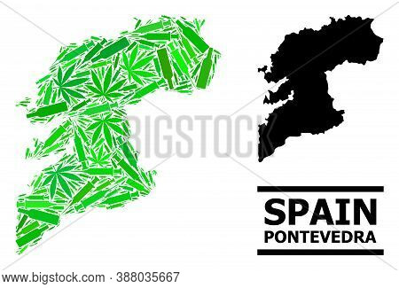 Addiction Mosaic And Usual Map Of Pontevedra Province. Vector Map Of Pontevedra Province Is Done Fro