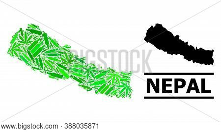 Addiction Mosaic And Solid Map Of Nepal. Vector Map Of Nepal Is Done From Randomized Inoculation Ico