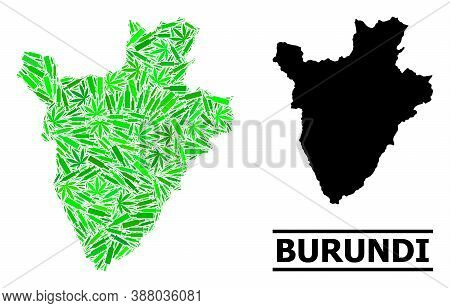 Drugs Mosaic And Usual Map Of Burundi. Vector Map Of Burundi Is Constructed With Scattered Syringes,
