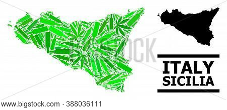 Addiction Mosaic And Solid Map Of Sicilia Island. Vector Map Of Sicilia Island Is Composed Of Random