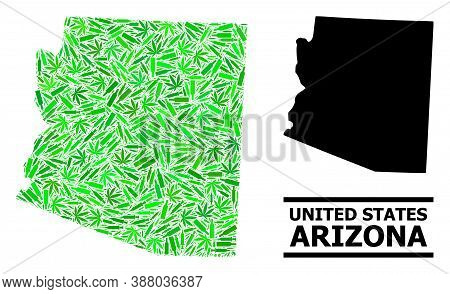 Addiction Mosaic And Usual Map Of Arizona State. Vector Map Of Arizona State Is Shaped From Scattere
