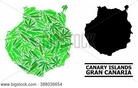 Addiction Mosaic And Usual Map Of Gran Canaria. Vector Map Of Gran Canaria Is Organized With Scatter