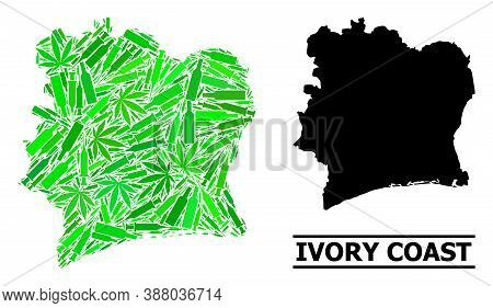 Drugs Mosaic And Solid Map Of Ivory Coast. Vector Map Of Ivory Coast Is Organized Of Random Inoculat