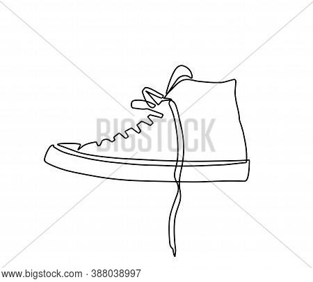 Continuous One Line Drawing Sneakers. Vector Illustration Of Sneakers. Sports Shoes In A Line Style.