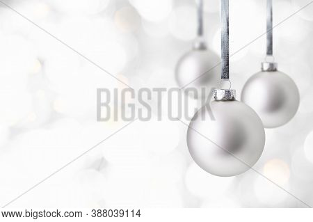 Christmas And New Year Greeting Card. Holiday Ornament, Winter Decoration. Silver Christmas Balls Ha