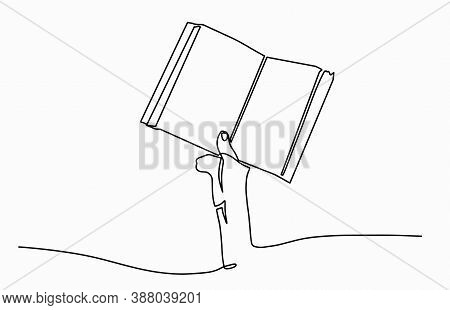 Line Drawing Vector Illustration Of Hand Holding An Open Book. Sketch Of Hands Holding Open Book Wit