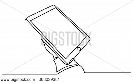 Continuous Line Drawing Of Hand Touching Digital Tablet. One Line Hand With A Tablet Hand-drawn Pict