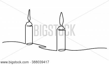 Beautiful Minimal Continuous Line Candles Design Vector.burning Fire Candles. Continuous One Line Dr