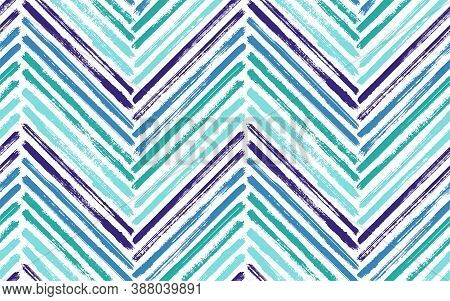 Mexican Zig Zag Fashion Print Vector Seamless Pattern. Paintbrush Strokes Geometric Stripes. Hand Dr