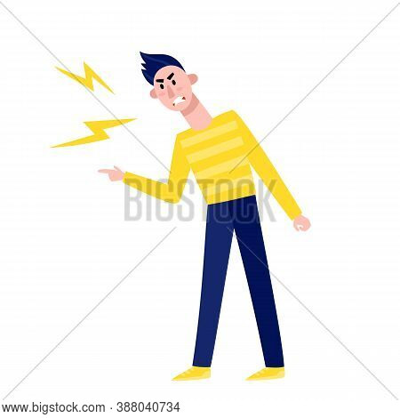 Vector Illustration Of Angry Man Point Finger Isolated On White.