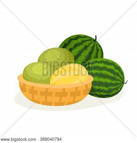 Cartoon Melons In Basket And Watermelons Isolated On White