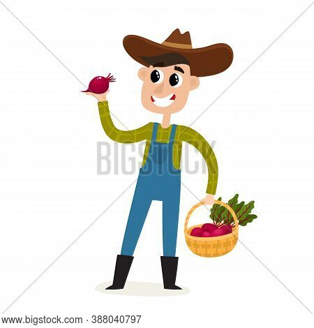 Cartoon Man Farmer With Beatroot And Basket Isolated On White.