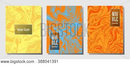 Flat Marble Prints, Vector Cover Design Templates. Fluid Marble Stone Texture Iinteriors Fashion Mag