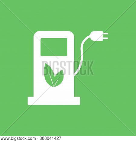 Eco Fuel Pump Station Icon. Charging Point For Hybrid Vehicles Cars Sign Symbol Isolated