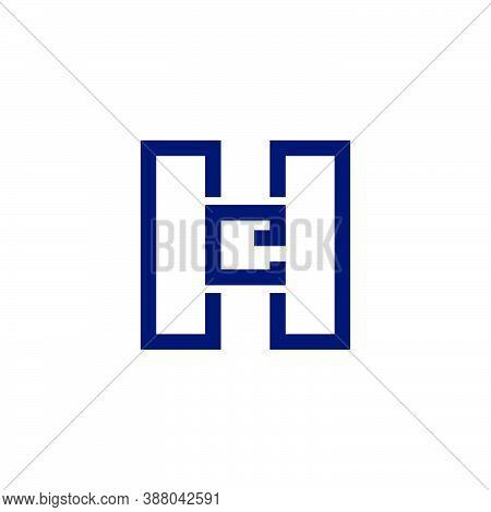 Letter He Simple Geometric Line Squares Logo Vector