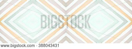 Ethnic Diamond Pattern. Drawn By Water Zigzags Ornament. Seamless Watercolour Mexican Print. Bohemia