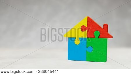House Puzzle Home Loan. Parts Of The House Are Brought Together