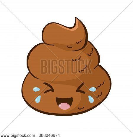 Vector Kawaii Laughing Poop Emoji. Rofl Pile For Sticker.