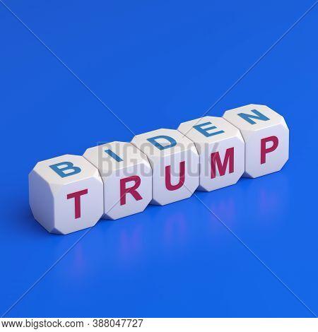 Bengkulu, Indonesia - October 05, 2020: Usa 2020 Presidential Election Concept Trump Biden Text On D