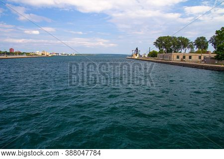 Sault Ste Marie Michigan And Ontario Waterfront District On The St Mary's River On The Border Betwee