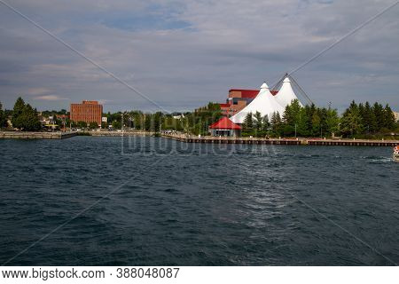 Sault Ste Marie, Ontario, Canada - August 9, 2015: The Waterfront District Of The Small Tourist Town