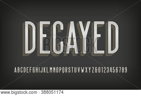 Decayed Alphabet Font. Scratched Vintage Letters And Numbers. Vector Typescript For Your Typography