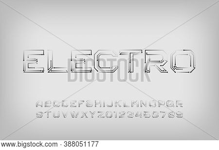 Electro Alphabet Font. Futuristic Letters And Numbers. Stock Vector Typescript For Your Typography D
