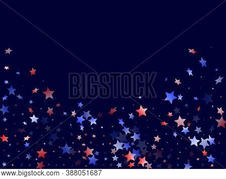 American Presidents Day Stars Background. Holiday Confetti In Usa Flag Colors For Presidents Day. Po