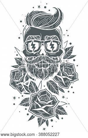 Skull Roses Illustration. Hipster Skulls Roses Set. Indie Barber Dark Face Tattoo Symbol Skeleton. H